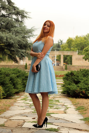 blue Rosegal dress - black Accessorize bag - black AmiClubWear heels