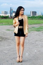 mustard blazer - bronze shoes - black shorts - black top - chartreuse belt