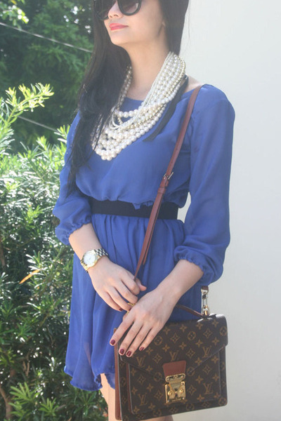 dark brown bag - blue dress - watch - necklace - black glasses