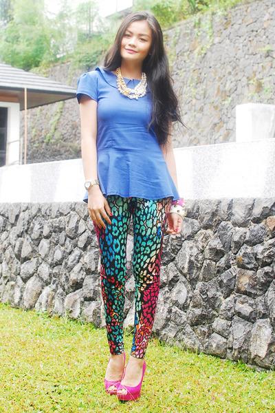 hot pink shoes - blue dress - turquoise blue leggings - bracelet - necklace