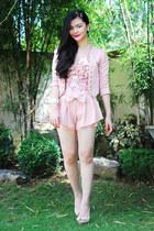 light pink shorts - shoes - bubble gum blazer - necklace - bracelet