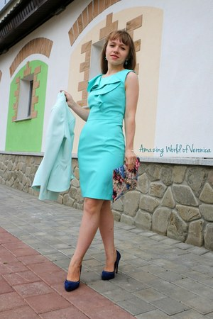blue Platini pumps - aquamarine Dorothy Perkins dress - sky blue H&M jacket