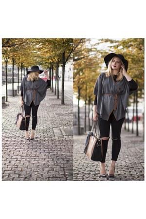 Stradivarius cape - Primark jeans - H&M hat - Primark heels