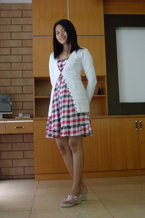 red dress - white cardigan