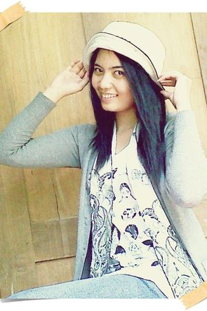 beige hat - white scarf - gray MNG collection cardigan - white teen jeans top -