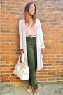 Cream-bag-aquamarine-cardigan-neutral-flats-pink-top