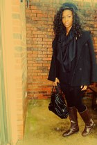 dark brown riding leather Gap boots - black wool Old Navy coat