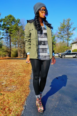 army green military style coat - light blue shirt - floral heels