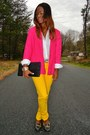 Yellow-jeans-hot-pink-vintage-blazer-white-thrifted-shirt