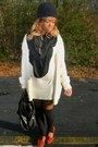Neutral-cotton-derek-heart-dress-black-handmade-scarf