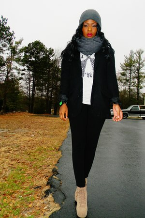 black suede menswear Old Navy coat - off white graphic t-shirt