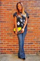yellow no brand purse - flare DKNY jeans - black vintage kiss t-shirt