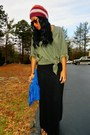 Blue-diy-purse-olive-green-thrifted-shirt-black-maxi-skirt