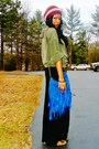 Olive-green-thrifted-shirt-blue-diy-purse-black-maxi-skirt