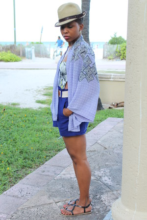 beige Urban Outfitters hat - blue Forever 21 shorts - periwinkle wrap top