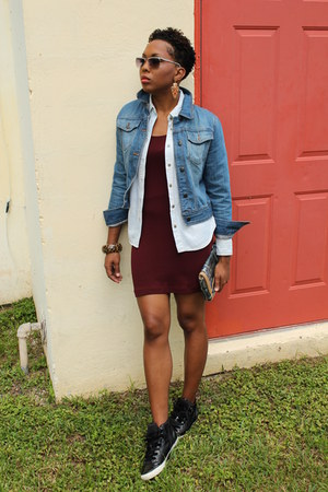 crimson H&M dress - light blue The Limited Denim jacket - black Aldo sneakers