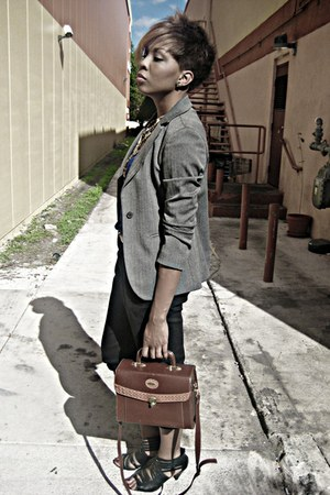 heather gray blazer - brown vintage bag - black zara pants - blue forever21 top