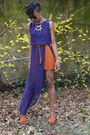 Burnt-orange-local-boutique-shoes-purple-local-boutique-dress