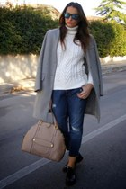 Zara sweater - seventy coat - Zara jeans - Marc Jacobs bag