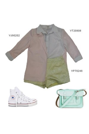 light pink VeryJ blazer - light yellow VeryJ shorts - white VeryJ top
