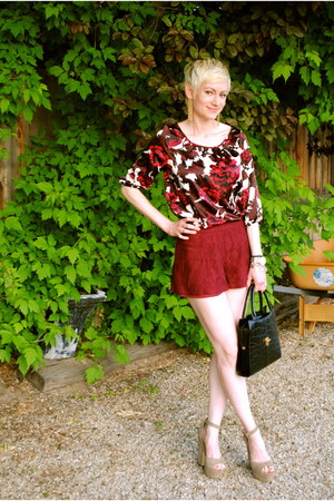 tan Steve Madden shoes - black vintage bag - ruby red lace Forever 21 shorts