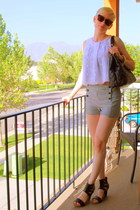 sailor f21 shorts - tortoise Karen Walker sunglasses - xhilaration top - black l