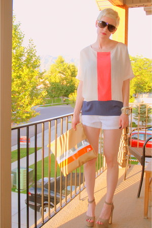 beige Steve Madden shoes - tan diy American Apparel bag - white JCrew shorts