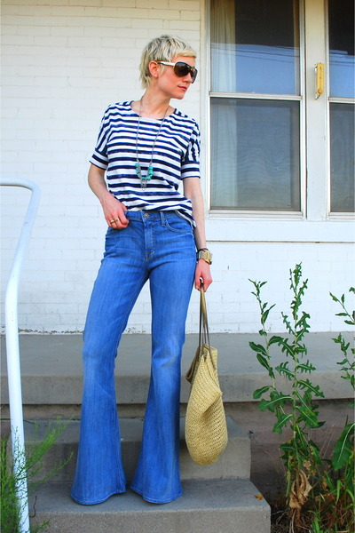 Blue Bell Bottom Seven For All Mankind Jeans, Navy Striped Gap ...