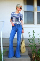 blue bell bottom Seven For All Mankind jeans - navy striped Gap shirt - tan stra