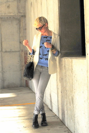 white f21 blazer - black Dr Martens boots - silver grey BU from Malibu jeans