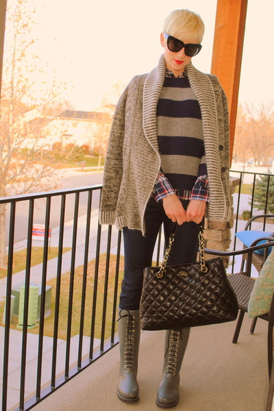 black kate spade bag - gray JCrew boots - heather gray sweater Gap jacket
