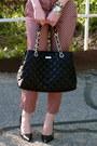 Ivory-striped-gap-top-black-quilted-kate-spade-bag