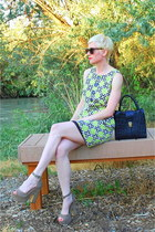 tan platforms Steve Madden shoes - chartreuse retro Michael Kors dress