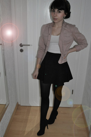 light pink Secondhand blazer - black American Apparel skirt - YSL heels