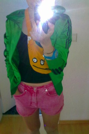 chartreuse adidas jacket - orange Cleomax bag - hot pink Monki shorts