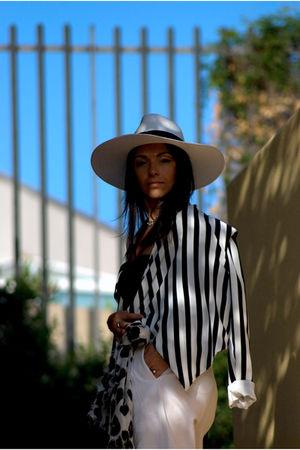 black H&M blazer - white H&M hat - white Zara pants - white H&M scarf - black Pr
