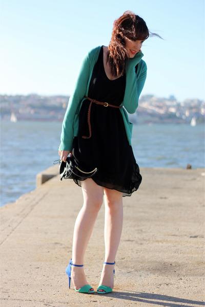 4e95a9588d black Zara dress - blue Zara heels - turquoise blue pull bear cardigan