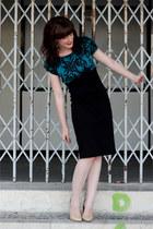 black Marks & Spencers dress - beige Mango heels