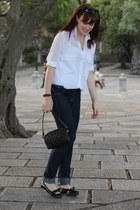 black Chanel bag - navy H&M jeans - white Zara shirt - black Parfois flats