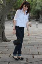 black Chanel bag - navy H&M jeans - white Zara shirt - black Parfois flats