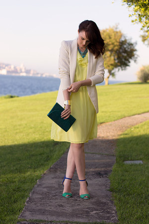 white H&M blazer - yellow H&M dress - turquoise blue Johnny loves Rosie bag