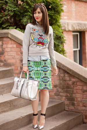 heather gray tiger Kenzo sweatshirt - silver milly bag