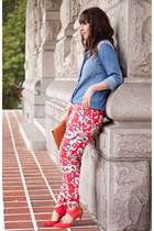 red floral print Forever 21 pants - sky blue denim Urban Outfitters shirt