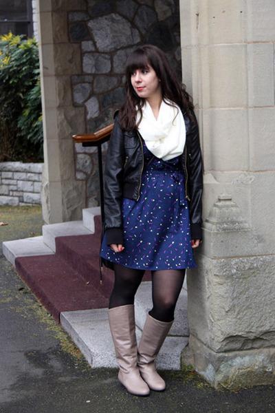 beige Feet First boots - blue Forever 21 dress