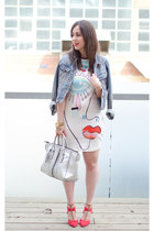 white eye motif Zara dress - blue denim jacket H&M jacket