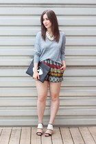 black DIY bag - sky blue rag & bone sweater - red tribal print winners shorts