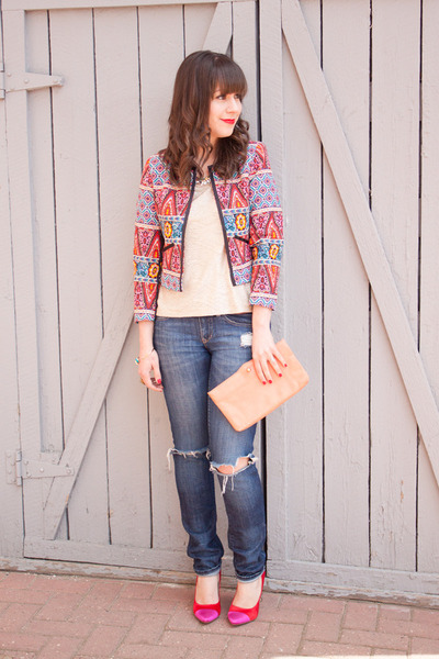 hot pink patchwork asos blazer - blue distressed Gap jeans