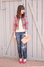 Blue-distressed-gap-jeans-hot-pink-patchwork-asos-blazer