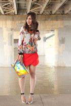 skort Zara shorts - hologram melie bianco bag - floral print Zara sweatshirt