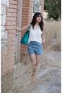 Turquoise-blue-michael-kors-bag-sky-blue-forever-21-shorts